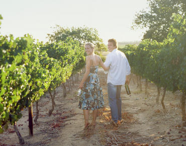 couple waling through a vineyard