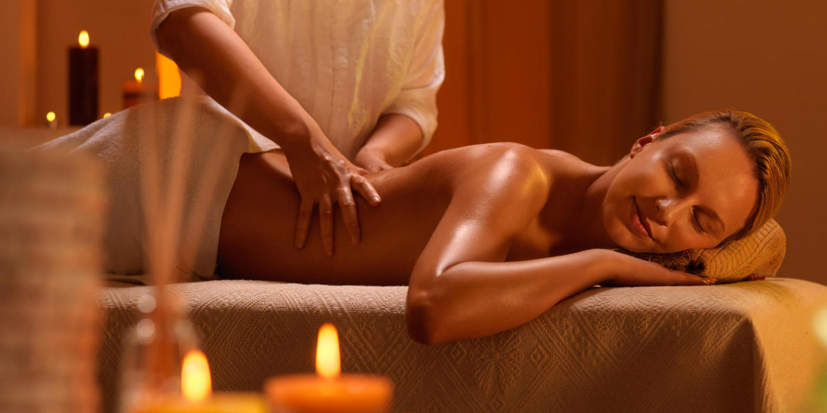 Woman getting a massage at the spa