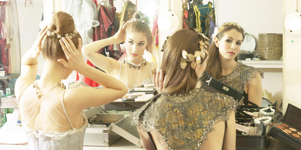 Actresses getting ready for a show