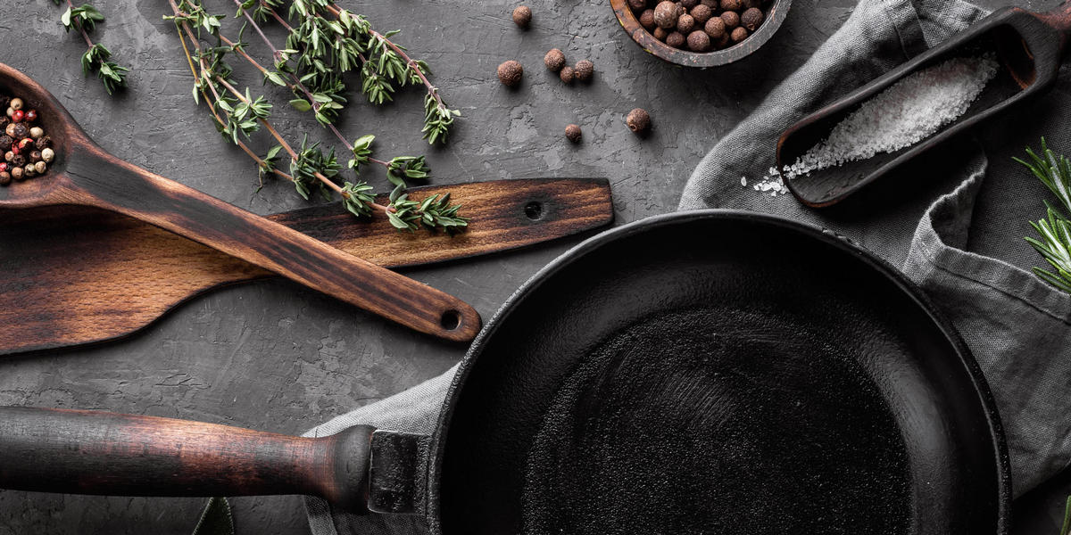 Pan, cooking utensils, and ingredients